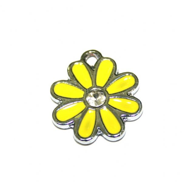 1x 17*17mm rhodium plated yellow daisy with  rhinestone enamel charm - SD03 - CHE1251